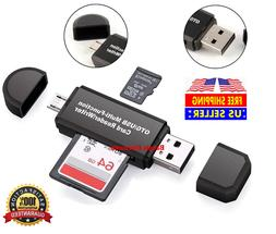 Micro USB OTG to USB 2.0 Adapter SD/Micro SD Card Reader Wit