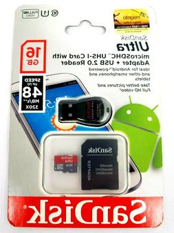 Sandisk MicroSDHC 16gb Card With Adapter + USB Reader