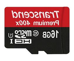 Transcend 16GB MicroSDHC Class 10 UHS-1 Memory Card with Ada