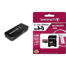 Transcend 64GB MicroSDXC Class10 UHS-1 Memory Card with Adap
