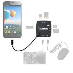 DURAGADGET All in One Card Reader + 3 USB HUB with Micro USB