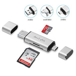 SD Card Reader, Jelly Comb 3-in-1 USB 3.0 / USB C / Micro-US