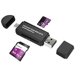 SD Card Reader, Micro USB OTG to USB 2.0 Adapter for SD/SDXC