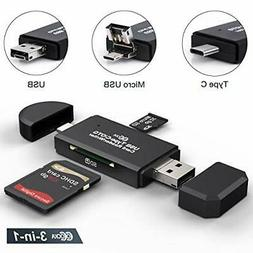 SD Card Reader, Micro SD/TF Compact Flash Card Reader with 3