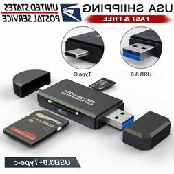 USB 3.0 SD Card Reader Portable Type C Dual Slot Flash Memor