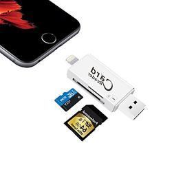 SD/Micro SD Card Reader with Lightning for iPhone & Ipad, Tr