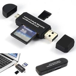 SD Micro SD Card Reader Micro USB OTG to USB 2.0 Adapter wit