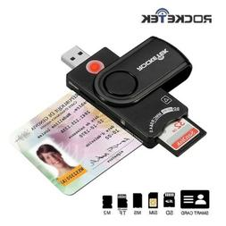 Rocketek Smart Card Reader USB 2.0 DOD Military CAC Common A