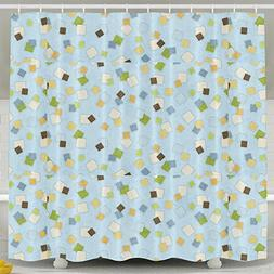 Squares Custom Waterproof Shower Curtain Bathroom Curtains 6