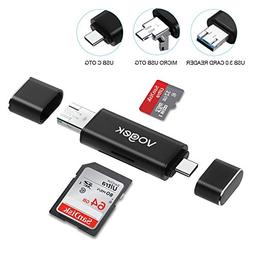VOGEK SD Card Reader, 3-in-1 USB 3.0/USB C/Micro USB Card Re