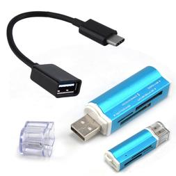 TF SD MS Memory Card Reader + Type C OTG Cable for Samsung G