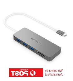 Type-C to USB 3.0 Ports and SD/TF Card Reader - Silver/Gray
