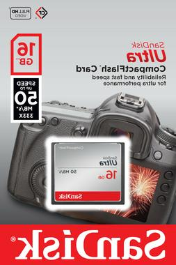 SanDisk Ultra 16GB CompactFlash Memory Card Speed Up To 50MB