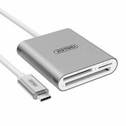 Unitek USB C Card Reader, Aluminum 3-Slot USB 3.0 Type-C Fla