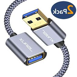 USB 3.0 Extension Cable, JSAUX 2 Pack 6.6ft USB A Male to US