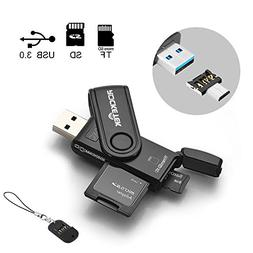 Rocketek USB 3.0 Memory Card Reader with 2 Slots SD/Micro SD