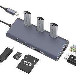 USB-C Hub, Dinly Type-C Cable Adapter Hub with USBC to HDMI