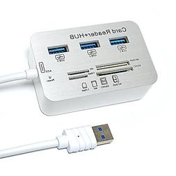 ERCRYSTO USB3.0 Card Reader and 3 Ports USB Hub, High Speed